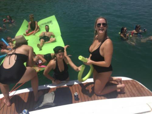 bachelorette party on a party boat with Lake Travis Yacht Rentals